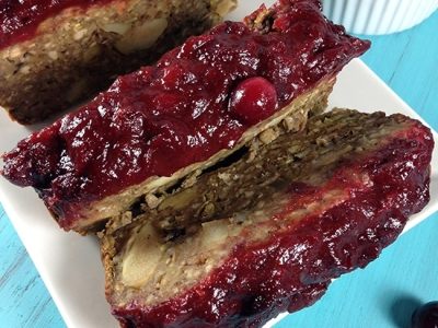 Vegan 'Meatloaf' with Spiced Cranberry Sauce