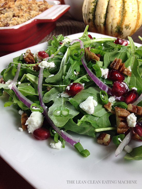 Arugula Pomegranate Goat Cheese Salad with Toasted Pecans and Pomegranate Vinaigrette