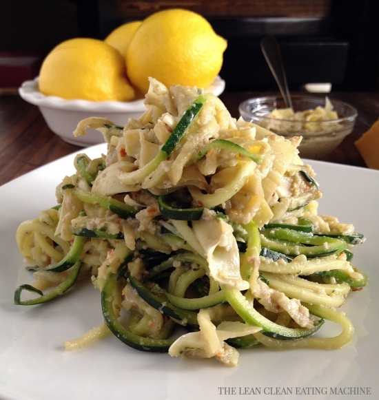 Lemon Artichoke Pesto with Zucchini Noodles