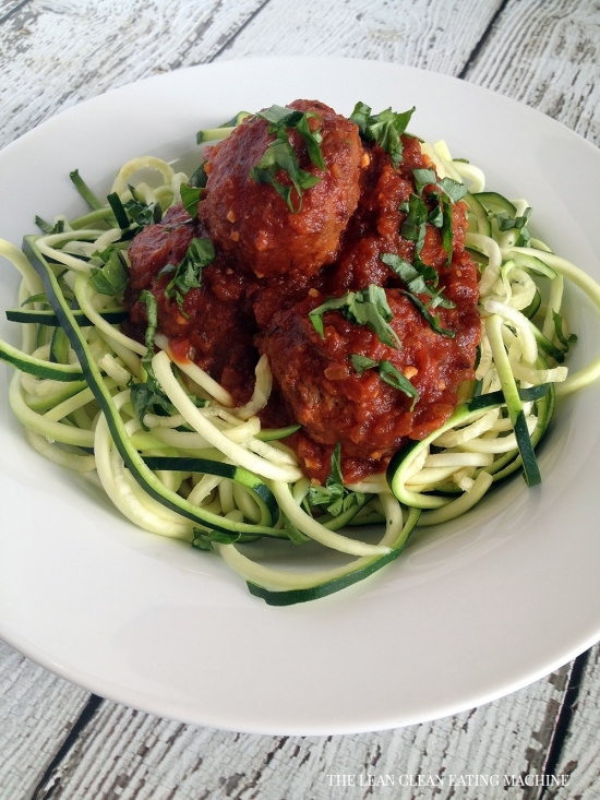 Easy Zucchini Spaghetti and Turkey Meatballs