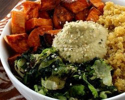 Sweet Potato Vegan Bowl with Chickpea-less Hummus