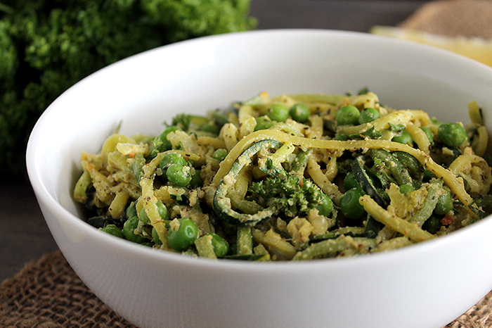 Creamy Lemon Pepper Zucchini Pasta with Peas