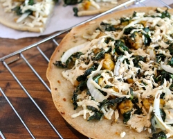 Roasted Kale, Onion and Tempeh Sausage Thin Crust Pizza