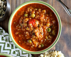 Roasted Red Pepper Quinoa and Lentil Soup